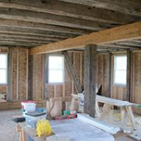 Interior construction and framing of the Bixler house