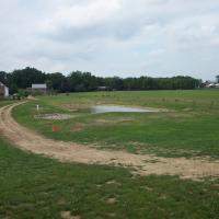 The pond installed and completed on the Sonnenberg Village campus.