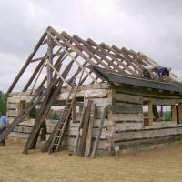 The Tschantz Log Cabin being reconstructed at the Sonnenberg Village