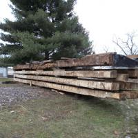 large timbers from barn ready for the move